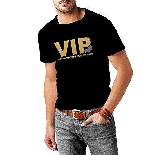 lepni.me Camisetas Hombre Bebedor de Cerveza Muy Importante - Alcohol, Borracho, Citas Divertidas para Beber - Ideas de Regalos chistosos, Ropa de Bar o de Fiesta (XX-Large Negro Oro)