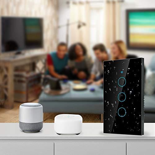 Interruptor Inteligente a Prueba de Golpes, Control por Voz, Interruptor táctil de 3 vías, Panel de interruptores, Impermeable para Alexa para(Black, U.S. regulations)