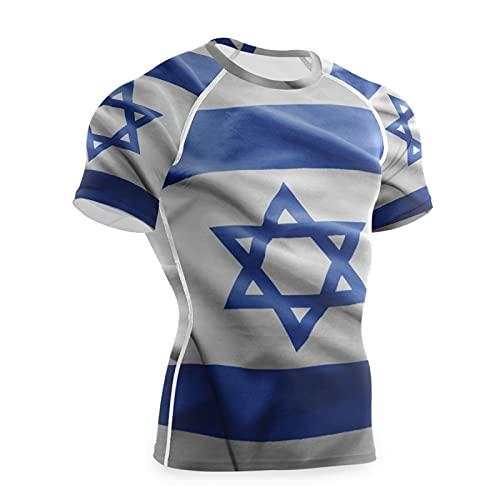 Magnesis Camiseta de compresión de manga corta con diseño de bandera de Israel