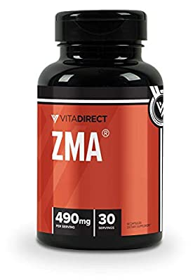 VitaDirect Premium ZMA (Zinc, Magnesium, Vitamin B6) Supplement, 490mg per Serving, 90 Vegan Capsules