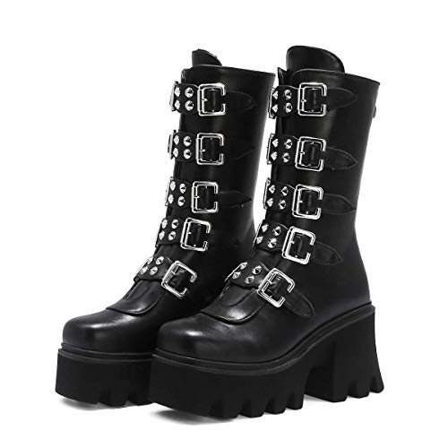 Damen Mid Calf Boots Punk Nietenstiefel Goth Platform Booties Schnürschuhe mit Reißverschluss (Color : Black, Size : 44)