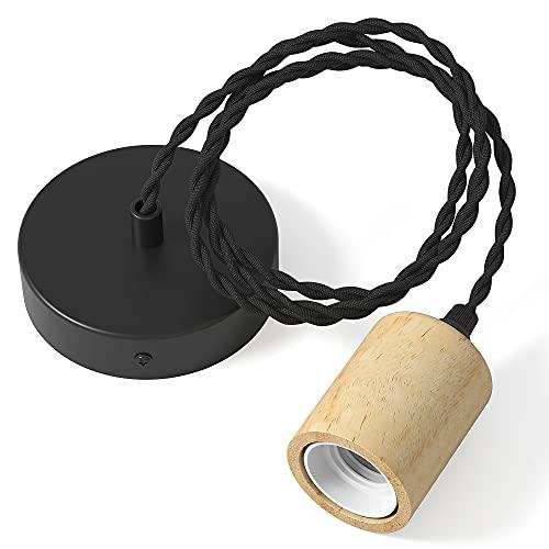 Martll Lámpara Colgante Vintage Retro Lámpara de Techo Madera E27 Porta Lámparas Metal Luz Colgante con Cable de 150CM (Paquete de 1)