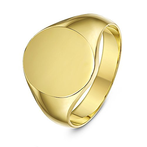 Theia Unisex Heavy Weight Oval Shape, 9 ct Yellow Gold Signet Ring - Size M