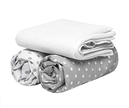 2 Fitted Cot Sheets + 1 Waterproof Mattress Protector,140 x 70 cm, Set of 3. 100% Oeko-Tex Cotton (White and Grey Polka dots) Made in EU. GO ECO!
