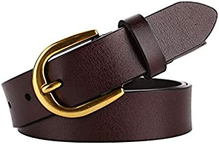 SGJFZD Women's Vintage Wide Belt Fashionable Leather Joker Casual Pin Buckle Belt (Color : Coffee)