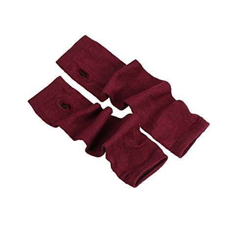 Guantes Largos de Invierno sin Dedos para Mujer, Cubierta de muñeca de algodón a Rayas Blancas y Negras, Guantes de Mujer, Manga, Guantes de Punto para Hombre-Wine Red
