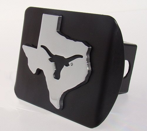 Elektroplate UTX University of Texas Black with Chrome Debossed TX State Shape Longhorn Emblem Metal Trailer Hitch Cover Fits 2 Inch Auto Car Truck Receiver with NCAA College Sports Logo