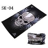 Última Moda Skull Magic Tube Bandanas sin Costuras Diadema Variedad Turbante Capucha Velo Bufanda multifunción - SK 04