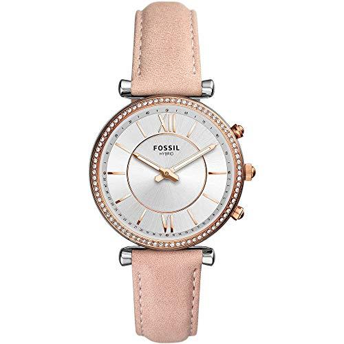 Fossil Damen Hybrid Smartwatch Carlie Leder Rosa