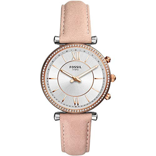 Fossil dames analoog kwarts smartwatch polshorloge met lederen armband FTW5039