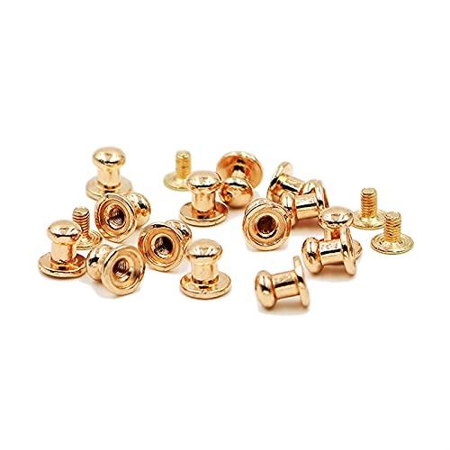 Remaches de metal 6 * 8mm 100sEst Button Studs Remache Metal Tornillo Atrás Manchas para remaches de Liacas Bullet Ropa de cuero Punk DIY COBRE reparado (Color : Golden)