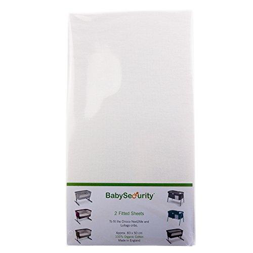 DK Glovesheet - Sábana Ajustable Elástica de Algodón 100% Orgánico para colchónes de Cunas Bedside (Color: Blanco - 2 Pack)