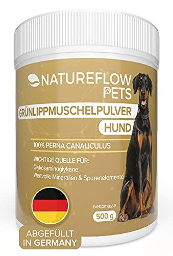 NATUREFLOW Natürliches Grünlippmuschelpulver Hund - 500g Grünlippmuschel für Hunde zur Unterstützung der Gelenkfunktionen - Grünlippmuschelextrakt mit Hoher Akzeptanz bei Allen Hunden