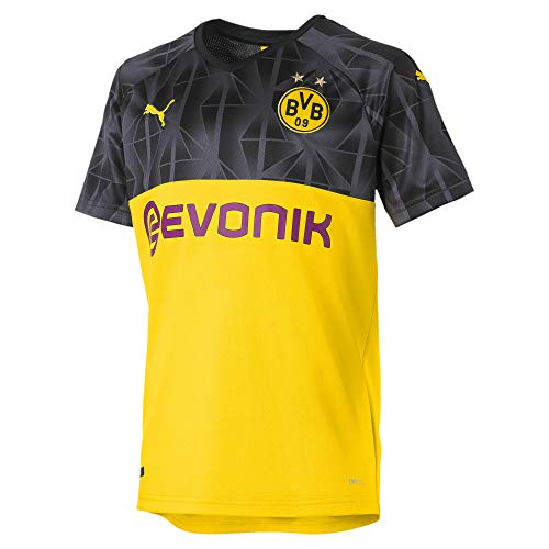 PUMA Jungen BVB Cup Shirt Replica Jr with Trikot, Cyber Yellow Black-Ebony, 140