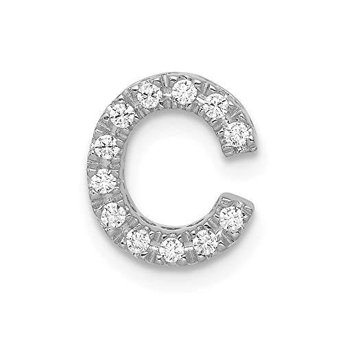 Solid 14k White Gold Diamond Initial Letter C Alphabet Charm Pendant (.12 cttw.)