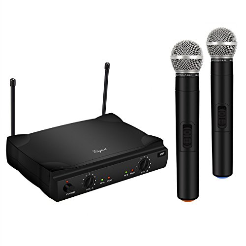 ELEGIANT VHF Wireless Microphone System with 2 Handheld Mics, Dual Channel Karaoke Singing Machine Portable Professional Home KTV Set
