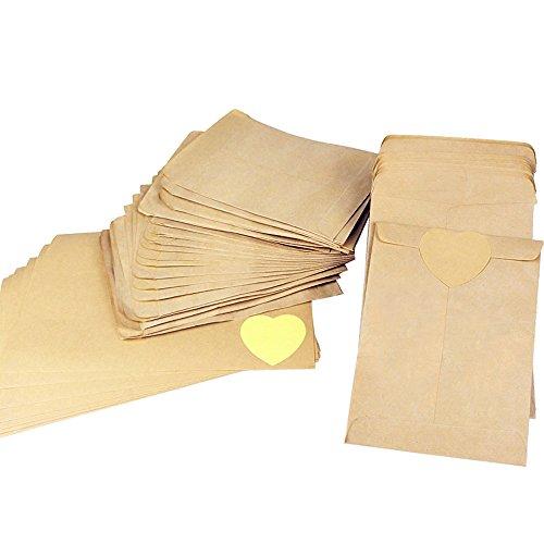 100pz(9 * 13cm) Sacchetto di Carta Kraft Mini Busta Piccoli per Semi Confetti Caramella Dolci Matrimonio Regalo Gioielli Busta Monili +(4.5cm) 10 Foglie 120pcs Adesivo di Carta kraft a Forma di Cuore