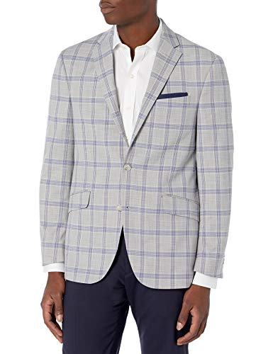 Kenneth Cole REACTION Men's Slim Fit Blazer, Grey/Blue Plaid, 44R