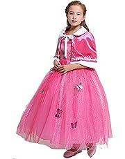 JJAIR Princesa del Vestido del Traje niñas, Corlorful Navidad de Halloween Vestidos Encima de Mariposa con Capa,Rosado,120