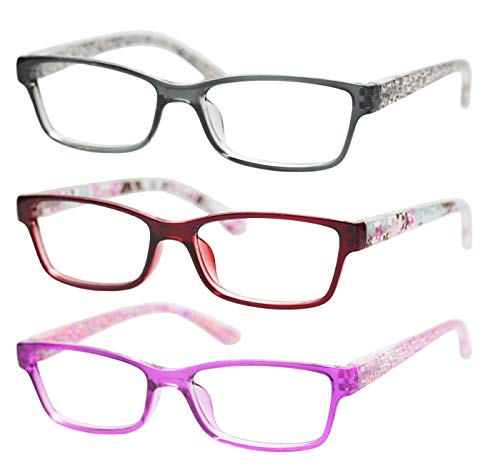 SOOLALA 3 Pairs of Patterned Readers Ladies' Quality Spring Hinge Reading Glasses with Pouch, 4.0x