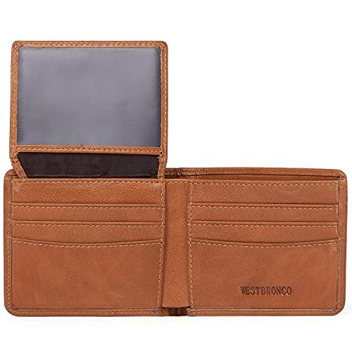 WESTBRONCO RFID Blocking Slim Genuine Leather Bifold Wallets for Men Credit Card Holder with 2 ID Windows