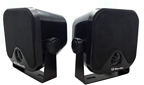 4 Inches Heavy Duty Waterproof Boat Marine Box Outdoor Speakers Surface Mounted for Skid Steer ATV UTV RZR Golf Cart Tractor Powersports Boat Truck Jeep