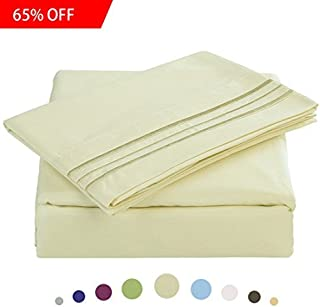 MAEVIS Bed Sheet Set-1800 Double Brushed Microfiber Bedding - Deep Pocket- Wrinkle, Fade, Stain Resistant - Hypoallergenic - 4 Piece (Ivory, King)