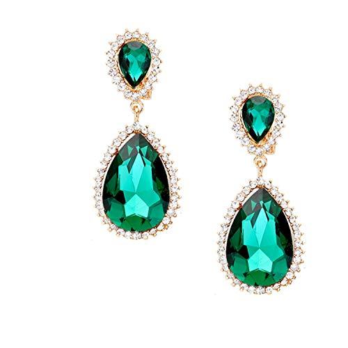 Schmuckanthony Hoernel - Pendientes largos de clip, cristal transparente, esmeralda, verde, 6,5 cm de largo