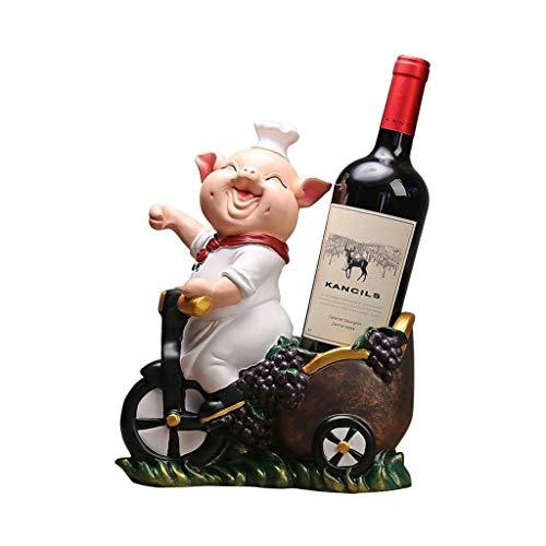Estante para vino de pie Titular de almacenamiento de vino sonriente de la forma del cerdo estante del vino Personalidad Home Cocina Restaurante Resina vino bandeja encimera Gabinete Bodega Estante pa