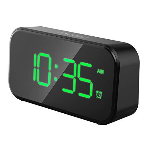 Baosity Snoeデジタル目覚まし時計LEDスクリーン、バッテリーバックアップ(4 X AAAは含まれていません) - グリーン