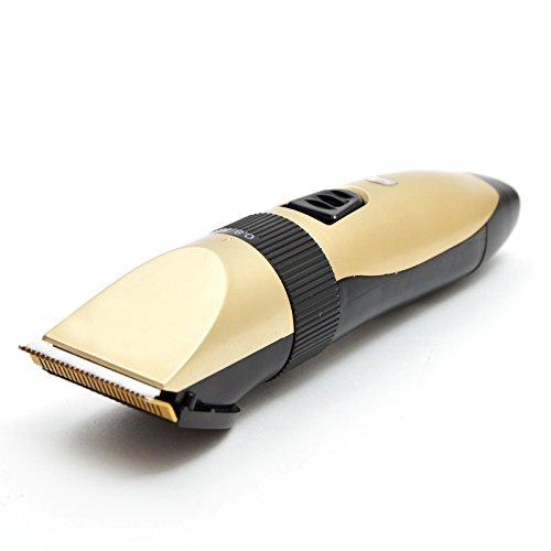 Akku Profi Haarschneider - Rasierer - Haarschneidemaschine mit 4 Aufsätzen, ideal für den Friseur Salon oder privaten Gebrauch - leiser aber starker Motor als Set Netz und Akkubetrieb, Farbe: gold