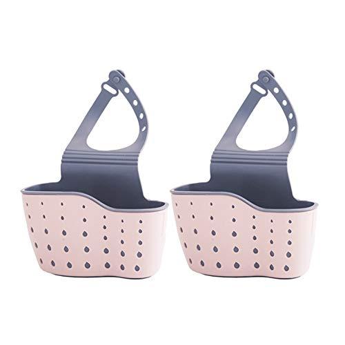 SHENMU 2 Piezas de Soporte de Esponja, Organizador de bañera de la Cocina y Grifo de Almacenamiento del baño, Canasta Colgante del Enchufe de Almacenamiento del baño (Color : Pink)