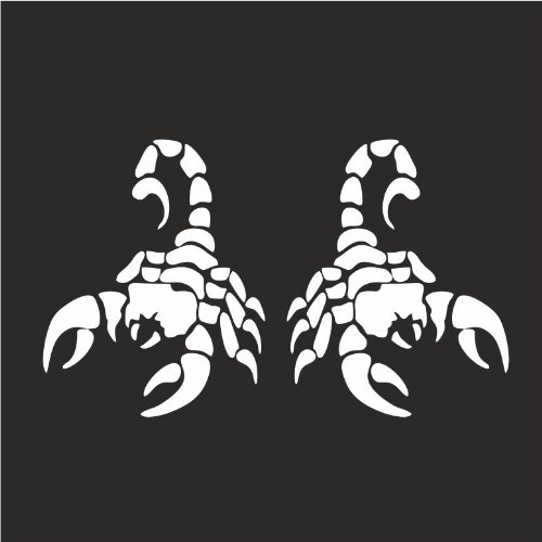 "2x (Left & Right Side) Scorpion Zodiac Helmet Gas Tank Motorcycle Decal Sticker M1 3""x 4"" Each Reflective White"
