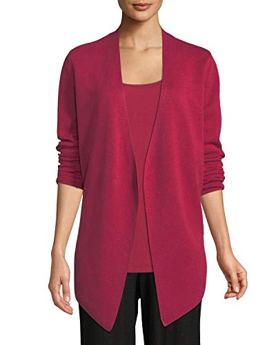 Eileen Fisher Radish Tencel/Silk Angle Front Cardigan Size XL MSRP $298