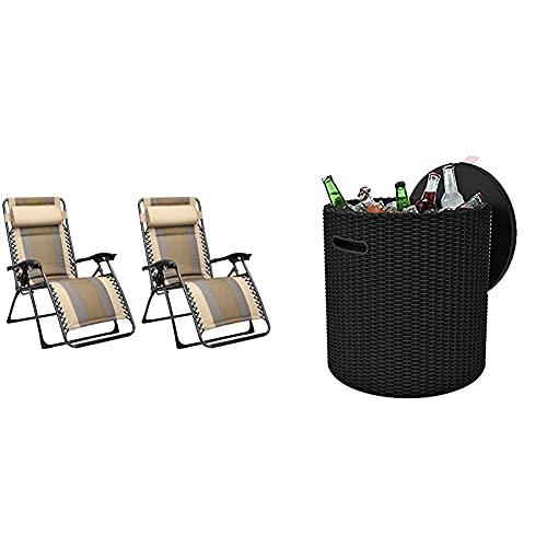 Amazon Basics - Set De 2 Sillas De Playa Acolchadas para Exteriores con Gravedad Cero - 165 X 74,9 X 112 Cm + Keter - Mesa Nevera para Jardín Cool Stool, Capacidad 39 litros, Color Marrón