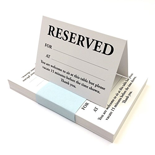 CYDPrinting A6 Table Reserved Tent Cards (A7 when folded) for Dining Restaurant (100 pack)