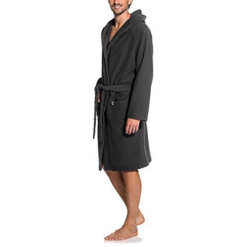 Maat Mons Herren Bademantel in grau | weicher Herrenbademantel aus Frottee | Morgenmantel mit Kapuze | Saunamantel mit Gürtel und Tasche | Größe 2/ 3XL