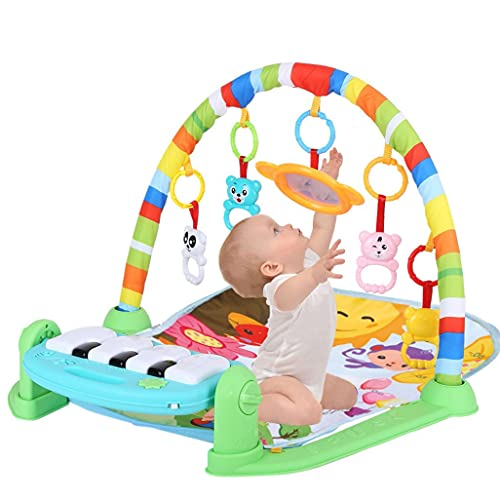 Tpouo Kick and Play Piano Gym Baby Play Mat,Baby Game Pad Music Pedal Piano Music Fitness Rack,Baby Crawling Mat with Hanging Toy