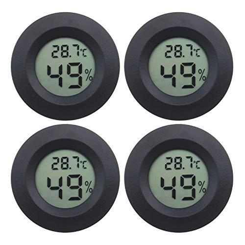 OTOTEC 4x Mini LCD Digital Temperatura Humedad Medidor Calibrador Negro Ronda Termómetro higrómetro con AG13 Batería para Bodega Invernadero Reptil Tanque de Cría