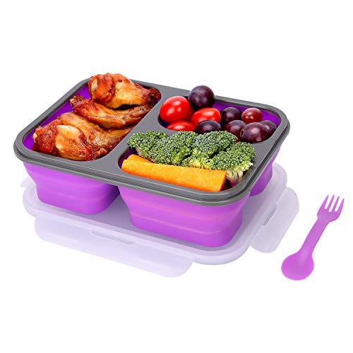YESURPRISE Bento Box, Faltbare Lunchbox silikon mit Gabel/Löffel und 3 Fächern, BPA frei, für Kinder Erwachsene und Alte (Violett)