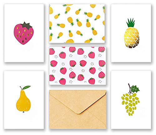60 All Occasion Assorted Blank Cards – 6 Fruit Designs Stationery thank you notes with Brown Kraft Envelopes and Stickers – Bulk Box Greeting Set 4 x 6 Inch…