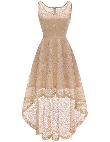 HomRain Damen Brautjungfernkleider für Hochzeit Cocktail Abendkleider Unregelmässiges Vokuhila Schwingen Spitzenkleid Champagne XL