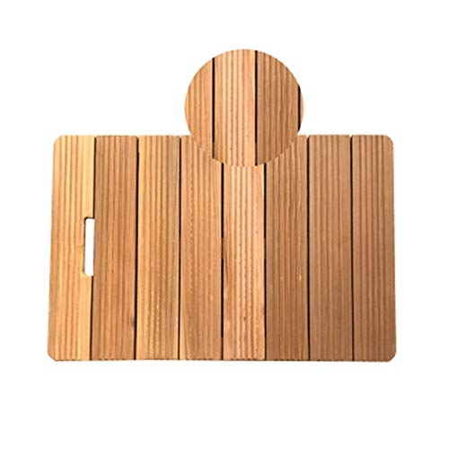 ZKORN Badbrett, Natur No Paint Holz Badematte Bad Dusche rutschfeste Badewannenmatten Abgerundeter Griff Design Rechteckiger Streifen