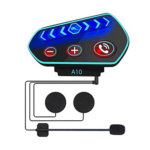 Casco de motocicleta Auriculares Bluetooth 5.0 Reducción de ruido Casco Auriculares estéreo Altavoces Auriculares Control de volumen Auriculares Fácil de instalar con altavoz Cable de micrófono