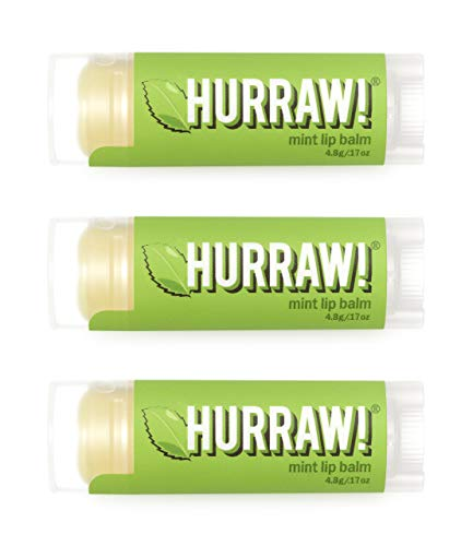 Hurraw Mint Lip Balm 3 Pack: Organic Certified Vegan Cruelty and Gluten Free NonGMO 100% Natural Ingredients Bee Shea Soy and Palm Free Made in USA