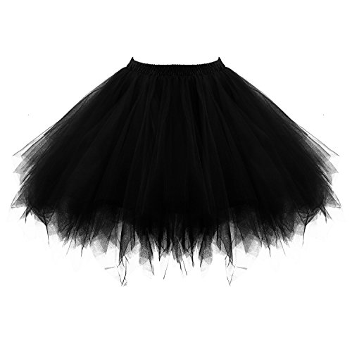 Tutu damesrok jaren 80 neon deuren dames rok tule rok petticoat pettishirt 50 vintage tutu korte balet rok dansjurk onderrok rok voor vrouwen volwassenen volwassenen 1980s fancy dress (zwart)