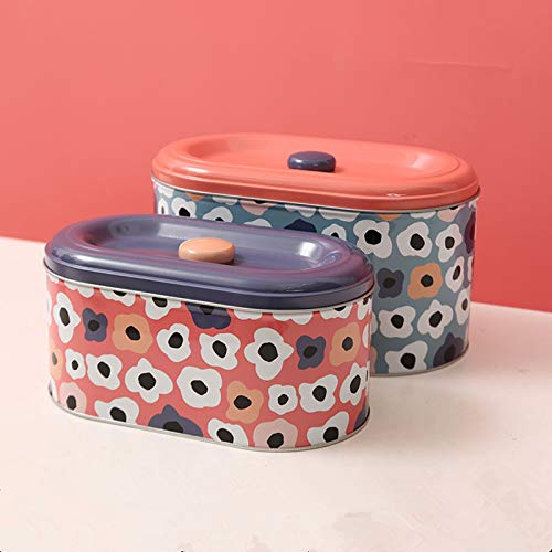 Tin Cookie Snack Jars Biscuit Storage Tin Canister Cookie Jar Home Kitchen Food Gifts Storage Containers with Lid for Biscuit Cookie ChocolatesToddler Food Baby Snacks  Food-Safe… Flower