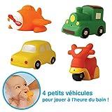 LUDI - Petits jouets en plastique pour jouer dans le bain. Dès 6 mois. 4 transports arroseurs rigolos : voiture, avion, scooter et train. Jouet à emmener à la plage. Aspergeurs transports - réf. 2223