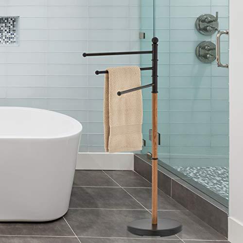 MyGift 40-Inch Freestanding Black Steel Bathroom 3 Swivel Arm Towel Rack Stand with Oak Wood-Tone Finish