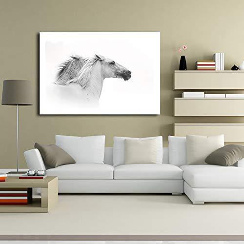 Angle&H Kunst Leinwand Drucken Wandkunst Malerei Zeitgenössische Schwarze und Weiße Pferd Bild Moderne Kunstwerk Wohnkultur KEIN Rahmen,S